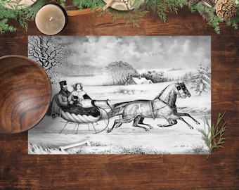 Placemats, Sleigh Ride, Currier And Ives Vintage Winter Scene, Printed Paper Placemats, Pad of 25 Placemats, Holiday Party Table Decor