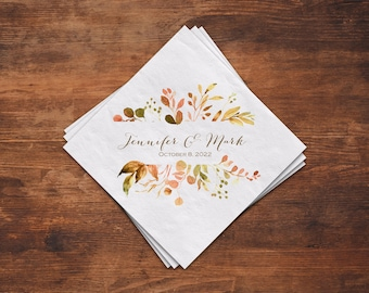 Fall Foliage Wedding Cocktail Napkins Personalized, Paper Napkins, Autumn Watercolor 3 Ply Beverage Napkins, Luncheon Napkins Also Available