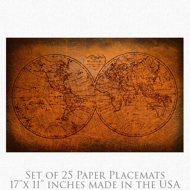 Vintage World Map Paper Placemats  1802 World Map Paper image 0