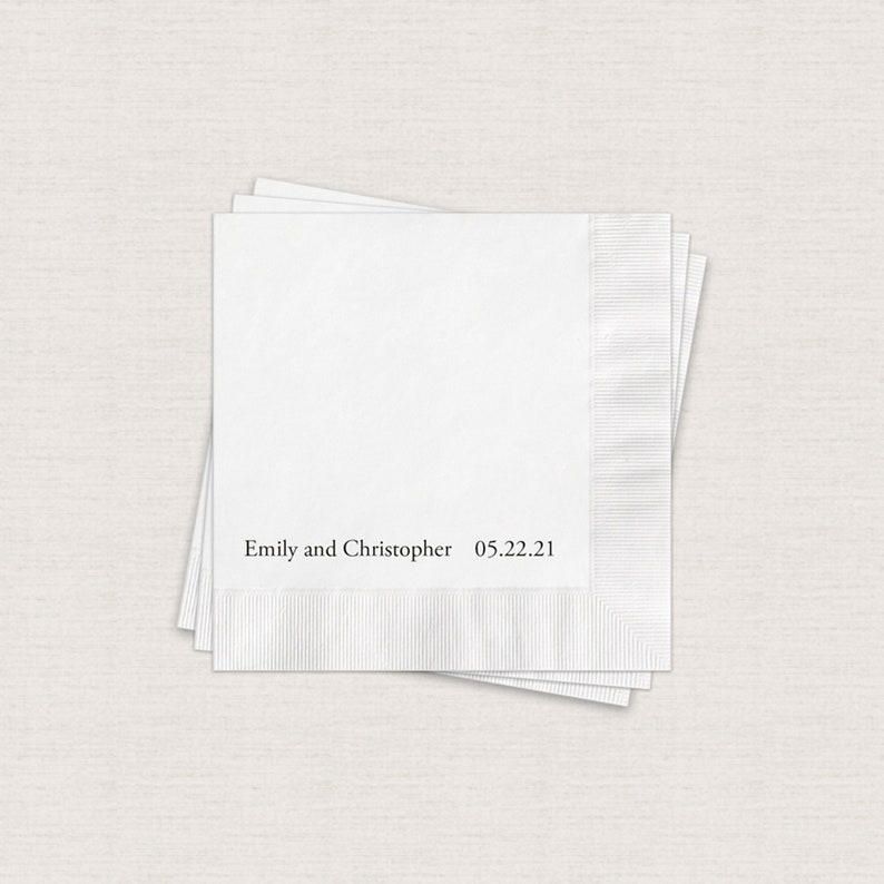 Personalized Beverage Napkins For Wedding White Cocktail image 0
