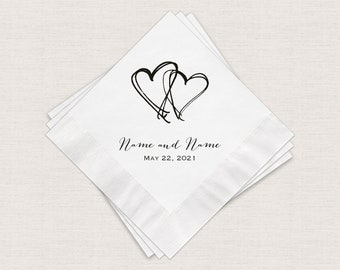 Wedding Napkins, Two Hearts Personalized White Cocktail Napkins With Print Color Options, 3 Ply Beverage Napkins