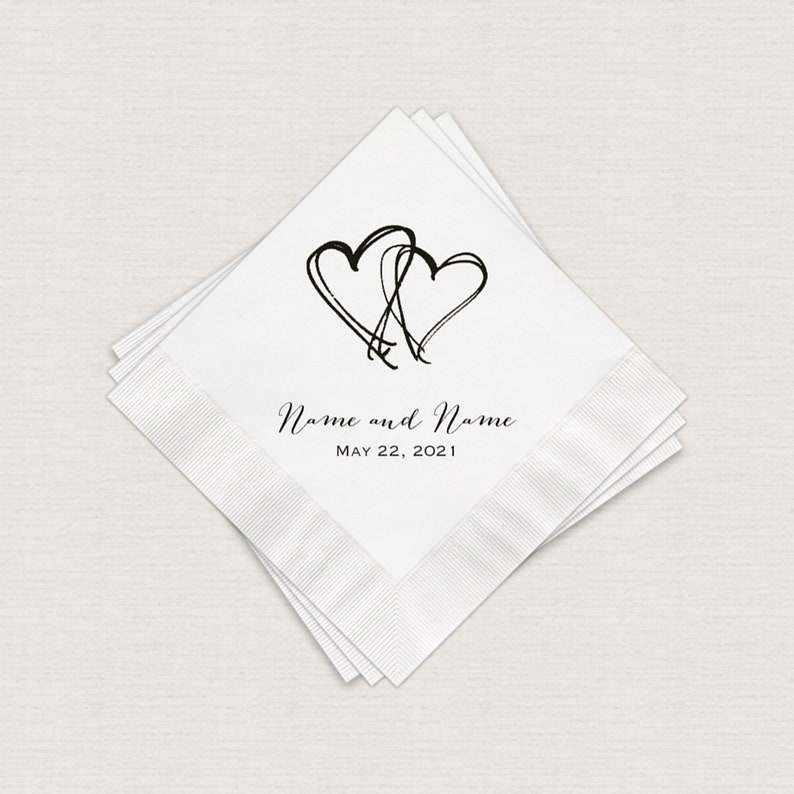 Wedding Napkins Two Hearts Personalized White Cocktail image 0