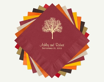 Fall Wedding Cocktail or Luncheon Napkins | 100 Wedding Personalized Cocktail Or Luncheon Napkins. Select A Color And Foil.