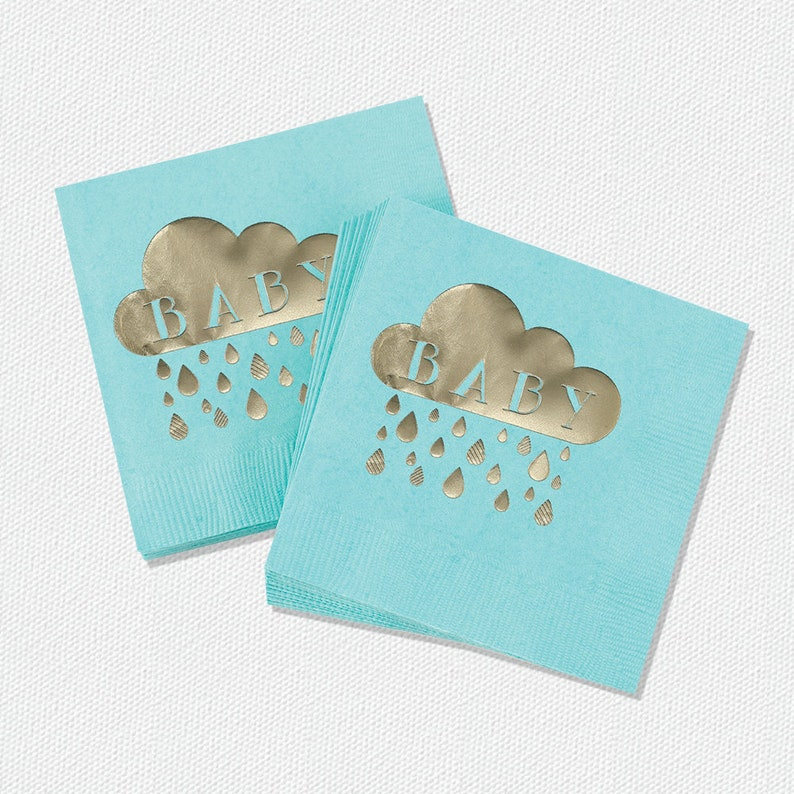 Baby Shower Beverage Napkins Aqua And Gold 50 Napkins image 0