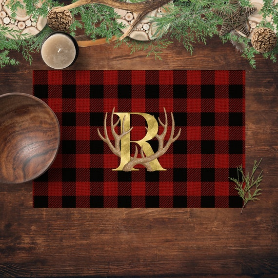 Buffalo Plaid Monogram Placemats, Rustic Country Kitchen and Dinning Paper  Placemats, Personalized Placemats