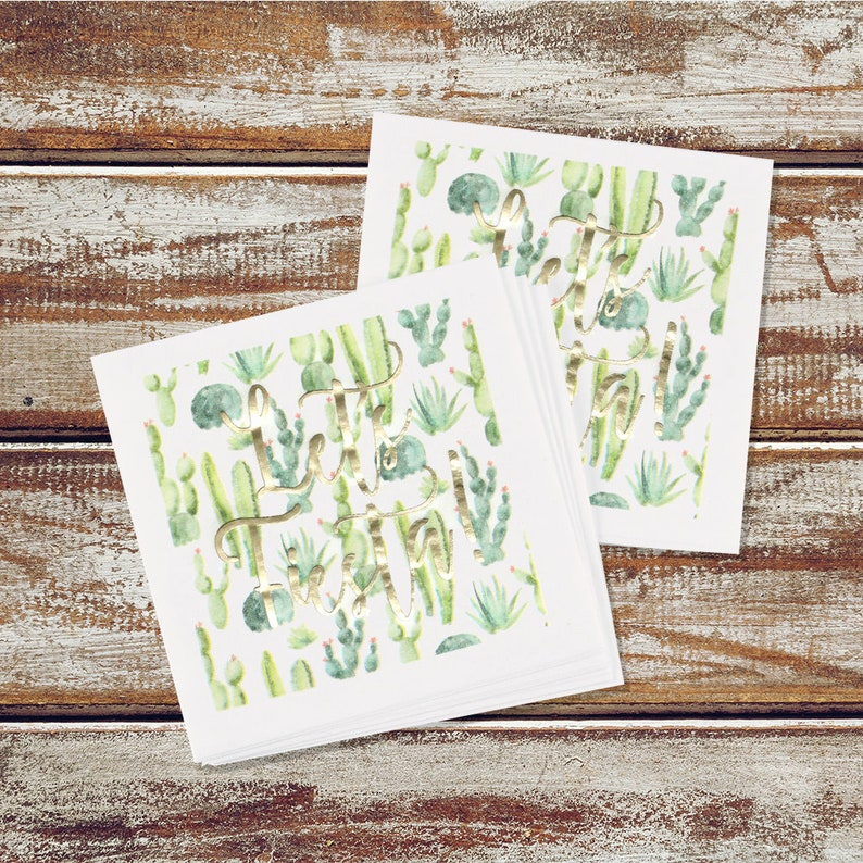 Let's Fiesta Cactus Cocktail Party Napkins image 0