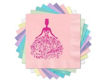 Quinceanera Napkins, Blush Pink Beverage Napkins, Quince Appetizer Napkins,  Fiesta De Quince Años 3-Ply Paper Napkins