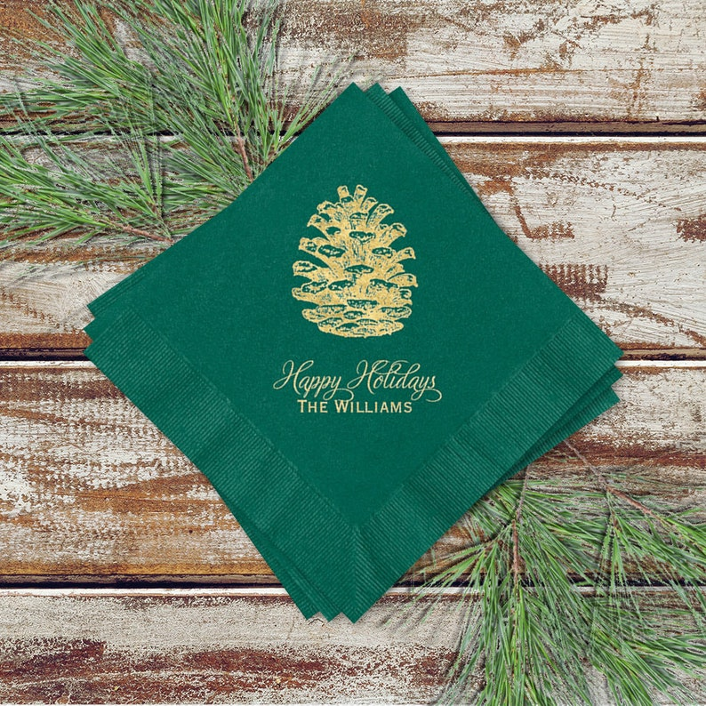 Holiday Party Cocktail Napkins Pine Cone Design On image 0