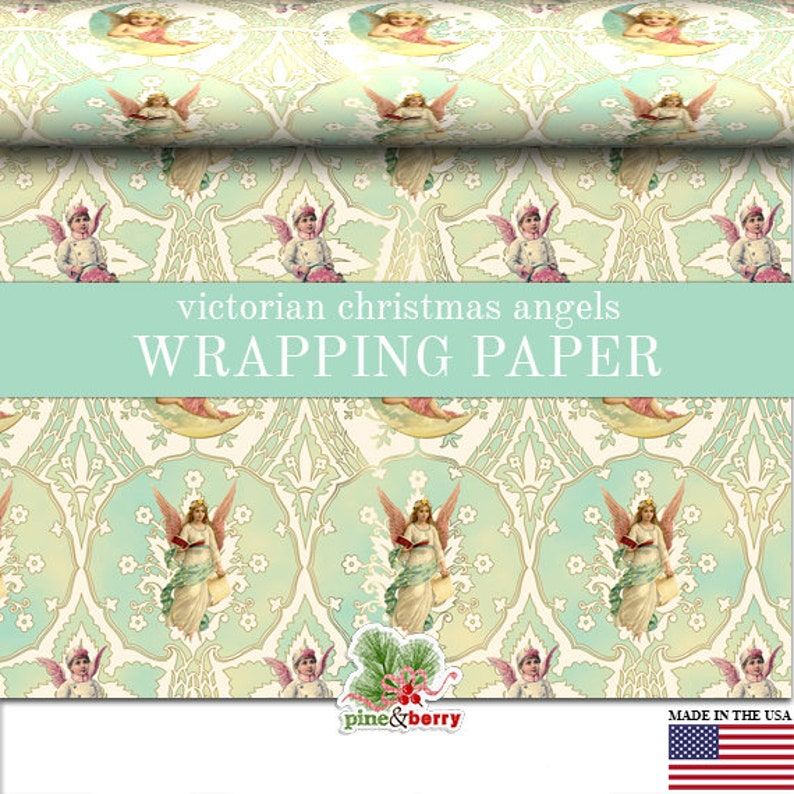 Victorian Christmas Wrapping Paper Roll Vintage Angels image 0