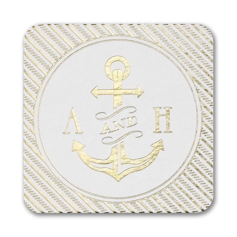 Wedding Coasters Personalized Nautical Initials Coasters image 0