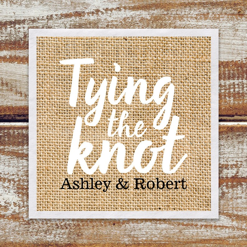 Rustic Wedding Rehearsal Dinner Cocktail Napkins Personalized image 0