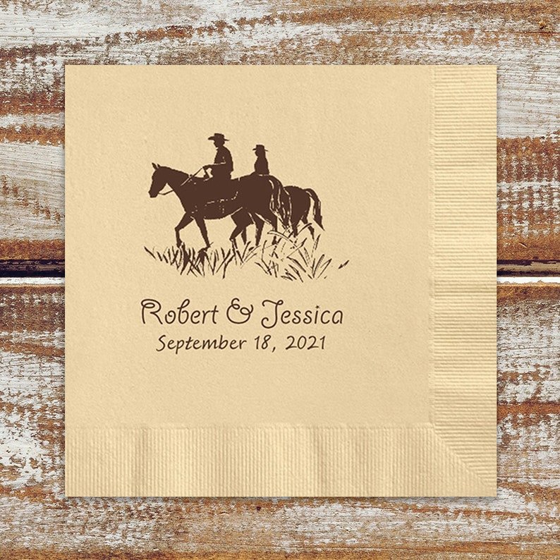 Horse Theme Wedding Cocktail Napkins  Rustic Country Wedding image 0