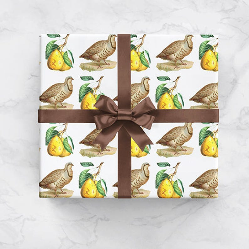 Partridge Pear Tree Vintage Christmas Theme Wrapping Paper image 0