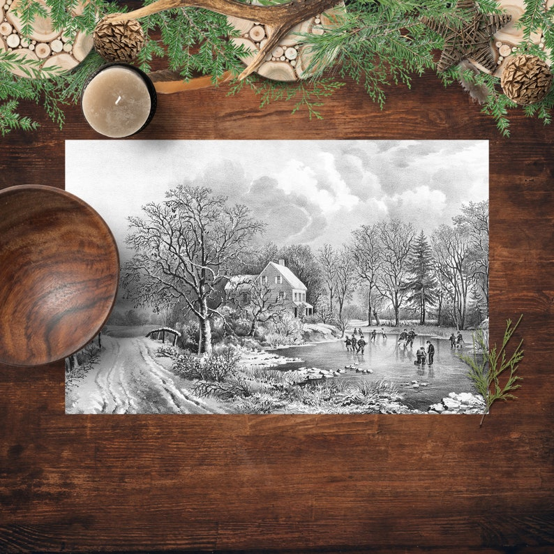 Paper Placemats Vintage Winter Scene Printed Paper Placemats image 0