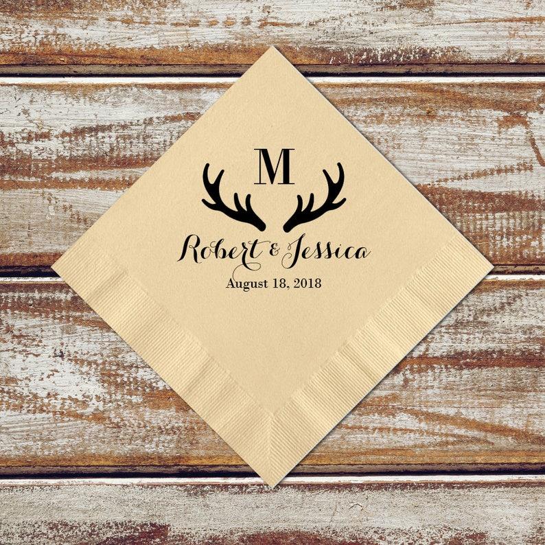 Personalized Napkins Deer Antler Wedding Rustic Cocktail image 0