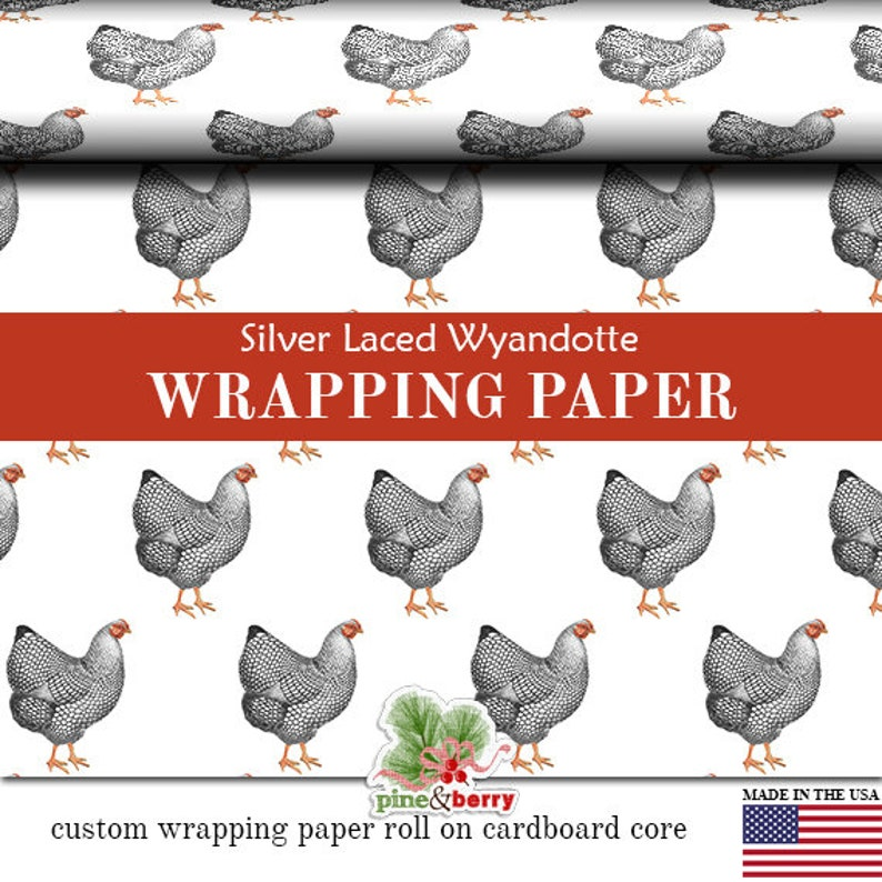 Chicken Silver Laced Wyandotte Matte Wrapping Paper 2FT X 12 image 0