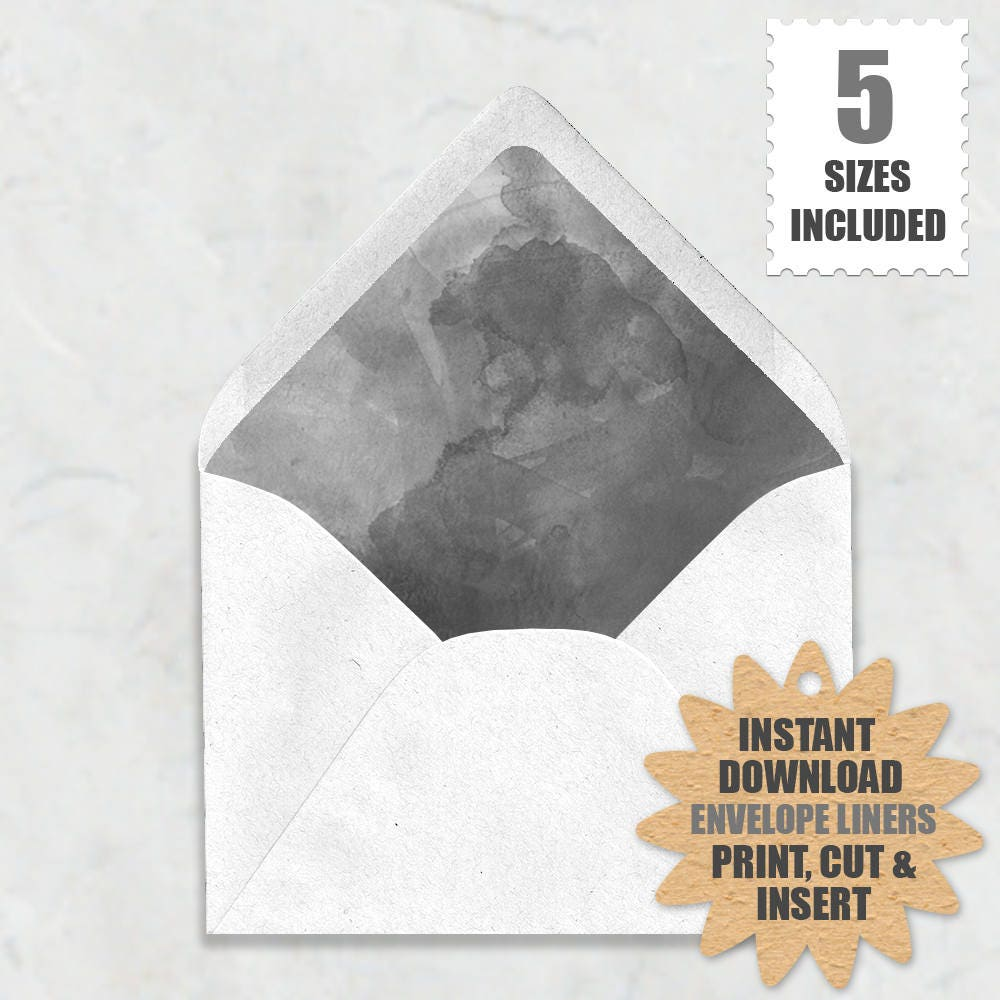 Grey Watercolor Envelope Liners Gray Envelope Liners 5 Sizes