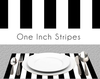 "Black White Stripes Paper Placemats | BW Paper Placemats Book of 25 Sheets Card Stock | Size Is 17"" x 11"" inches Tear-Off Durable Paper Pad"