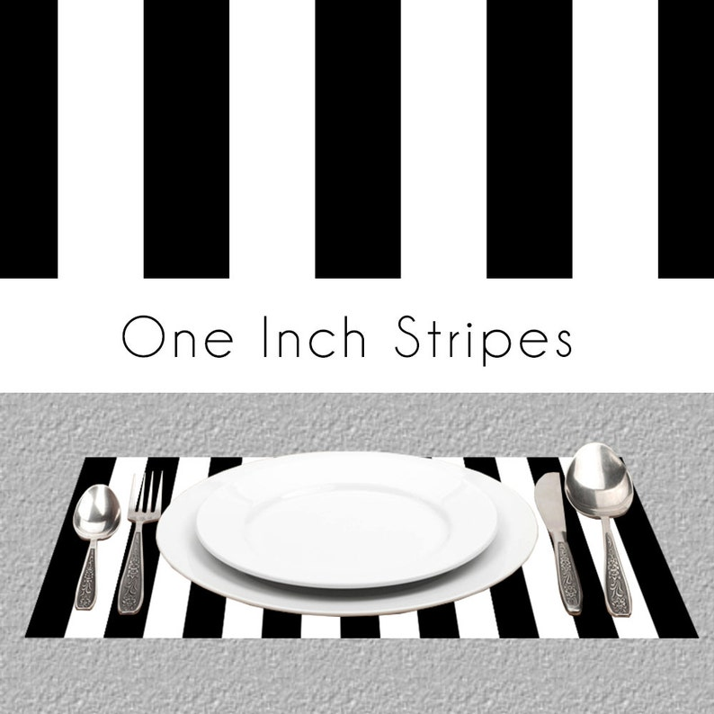 Black White Stripes Paper Placemats  BW Paper Placemats Book image 0