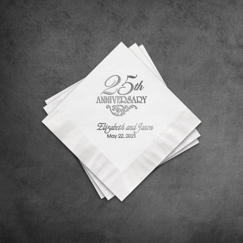 Napkin 25 Years Anniversary White Cocktail Napkin Metallic image 0