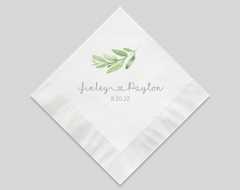 Personalized Greenery Wedding Cocktail Napkins, 3 Ply White Beverage Napkins For Your Party, Luncheon Napkins also Available
