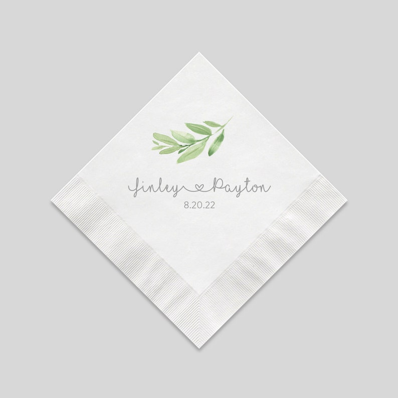 Personalized Greenery Wedding Cocktail Napkins 3 Ply White image 0