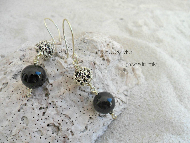 Häkeln Draht Ohrringe, Perlen Ohrringe, Schmuck, in Italien, Sardinien, handgefertigten Schmuck, italienischer Schmuck aus Kupfer