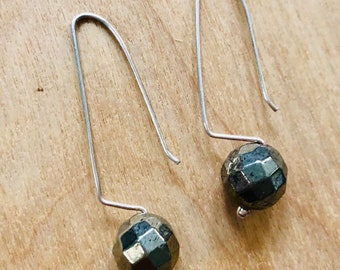 Faceted pyrite sterling silver earrings