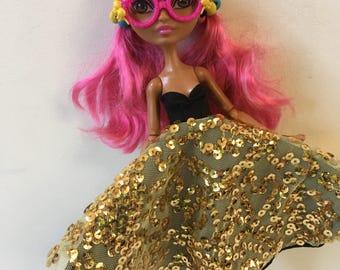 "Ever After Dolls ""Golden Nugget"" Dress for Ginger Breadhouse, Apple White"