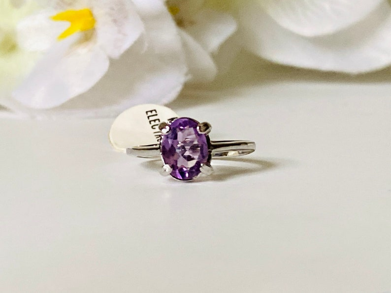 Vintage Cocktail Ring Vintage Rhodium Plated Amethyst Stone Ring Vintage Solitaire Ring