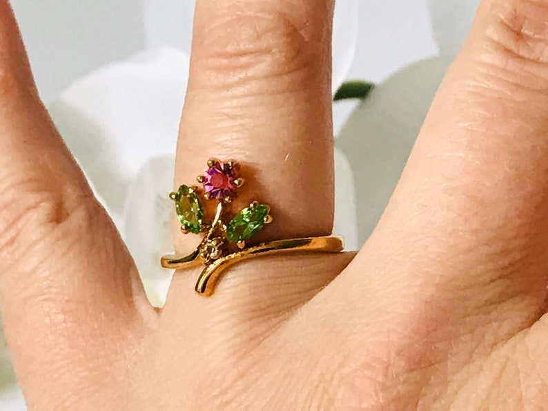 Vintage Pink and Green Stone Flower Gold Tone Ring Size 8 12 US 14 KT Gold Electroplated