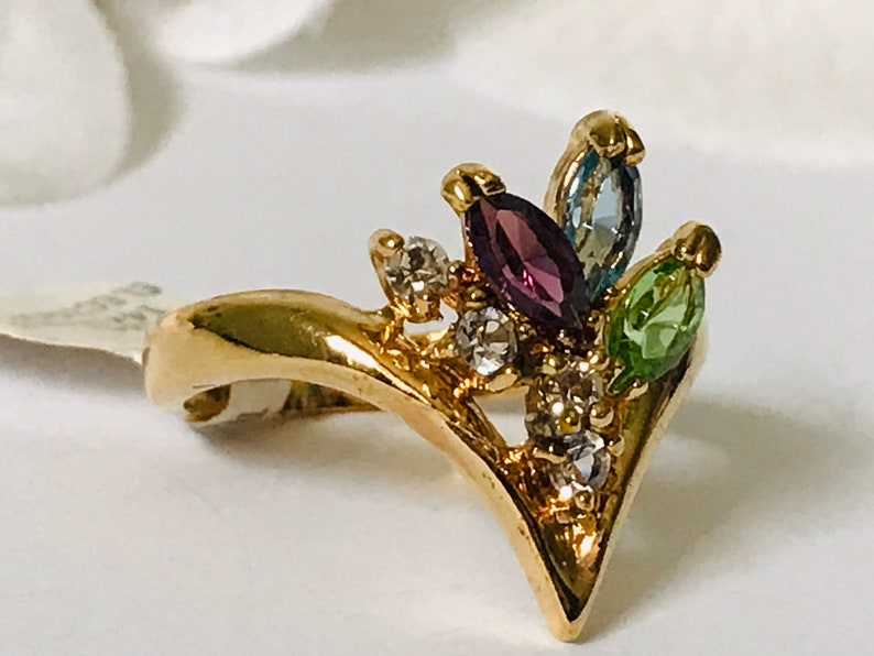 Size 9 Vintage 14 KT Gold Plated Colorful Flower Bouquet Ring