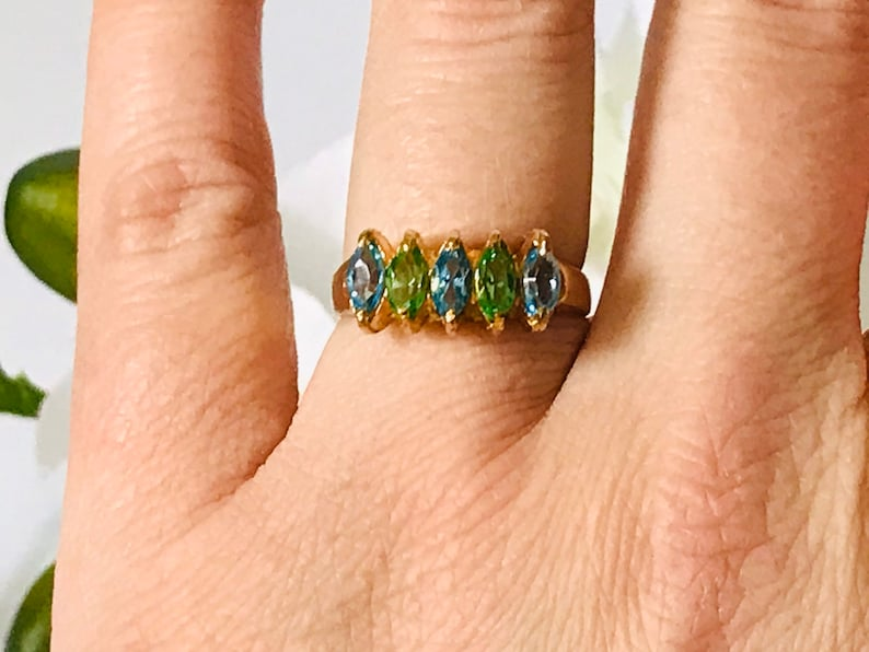 Size 9 Vintage 14 Kt Gold Electroplated Blue and Green Marquise Cut Stone Ring