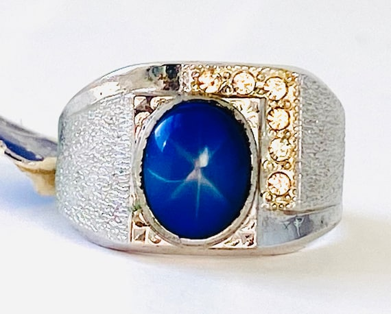 Vintage 18 KT HGE Gold Plated Blue Simulated Sapph