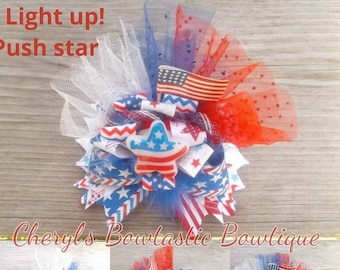 Brave Usa 4th Of July Red White Blue String Led Lights Bulb Necklace Flashing Fun July 4th