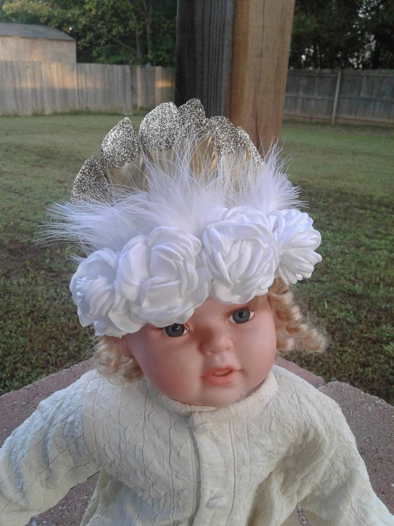 Feather Tiara Feather headband Wild one headband Feather Crown Flower headband Flower Crown Flowers and Feather Crown