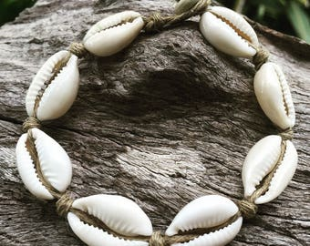 Hand Made Hemp Shell Anklet with Cowrie Shells, Sea Gypsy Bohemian