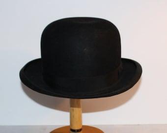 bcbc7dae46a Antique Bowler Derby Gentlemen s Formal Black Felt Hat Size 7 1 8