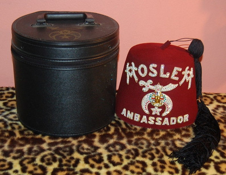 Vintage Moslem Ambassador Detroit Masonic Temple Fez in Case with  Rhinestones & Jewels Awesome Hat