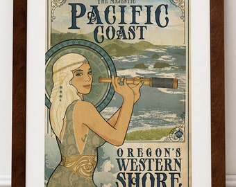 The Majestic Pacific Coast - Art Print - Oregon Coast Ocean Region Shoreline Travel Poster Art Nouveau Wall Art Gift