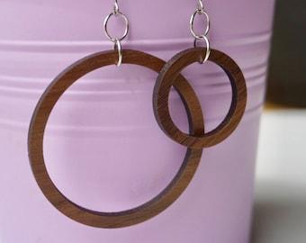 Wood Circle Earrings, Minimalist Dangle Earrings
