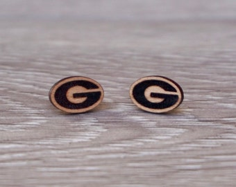 Engraved UGA Earrings   Engraved UGA Stud Earrings   Georgia Stud Earrings   Wood Earrings   Hypoallergenic Earrings