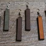 Rustic Leather Bar Earrings