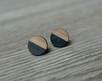 Walnut Wood Round Stud Earrings ~ 58 Inch