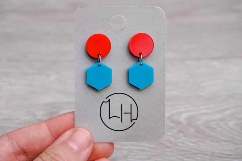 Geometric Earrings  Acrylic Stud Drop Earrings  Statement image 0