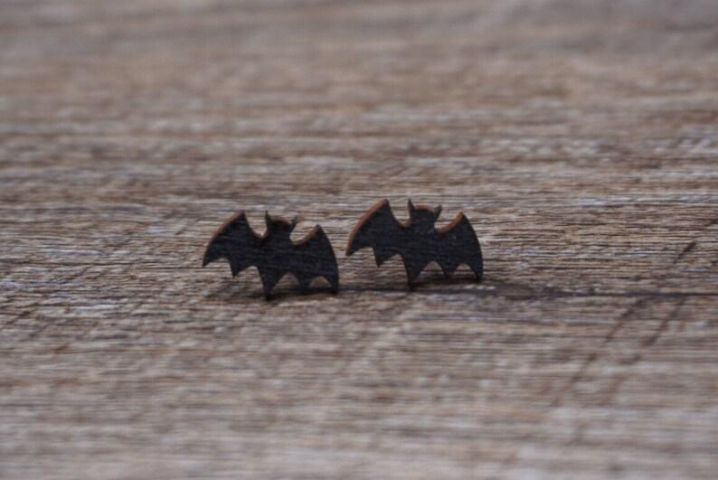 Bat Earrings  Bat Stud Earrings  Halloween Earrings  Batman image 0