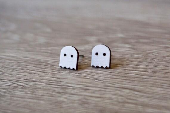 Hypoallergenic Hand Painted Pac-Man Ghost Stud Earrings