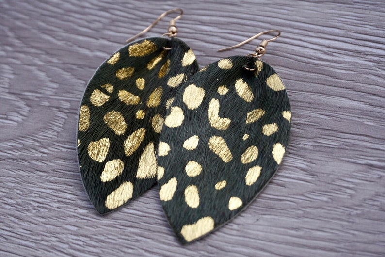 Gold Speckle Leather Leaf Earrings  Green image 0