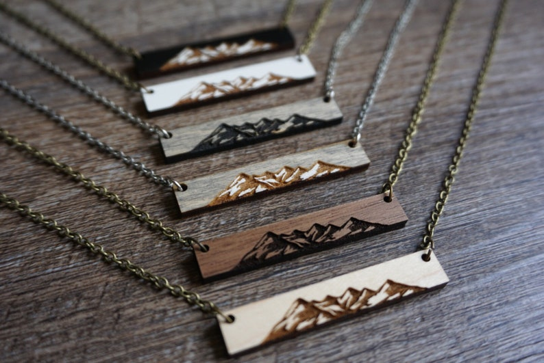 Engraved Wood Bar Mountain Necklace image 0