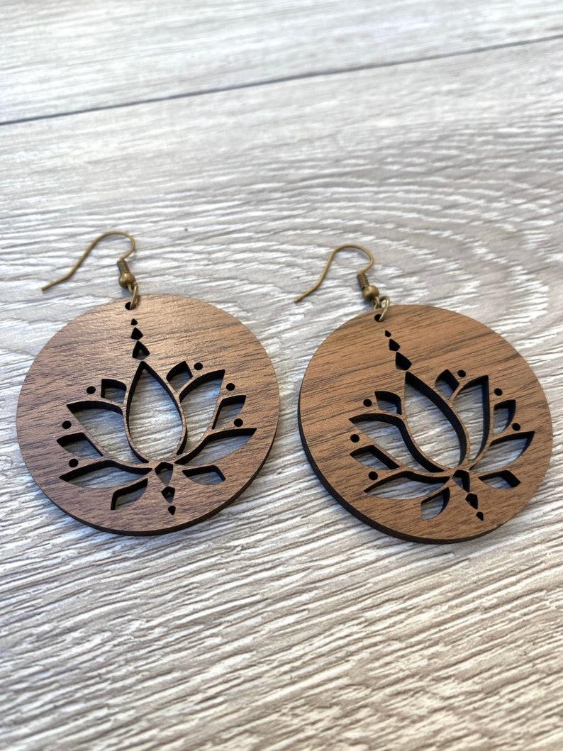 Wood Lotus Flower Earrings  Wood Circle Earrings  Lotus image 0